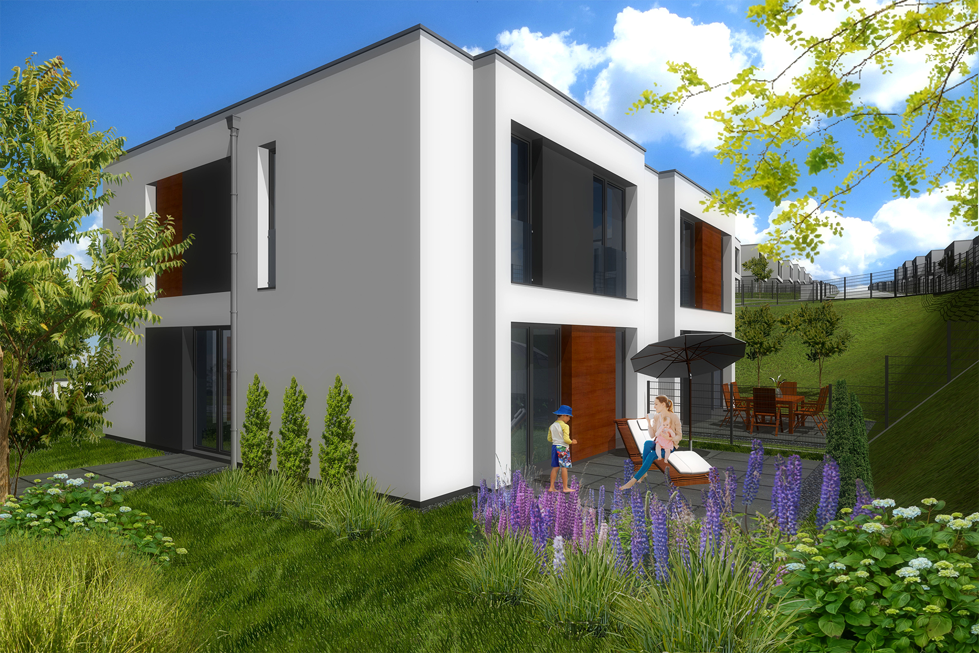 Dom bliźniaczy z ogrodem