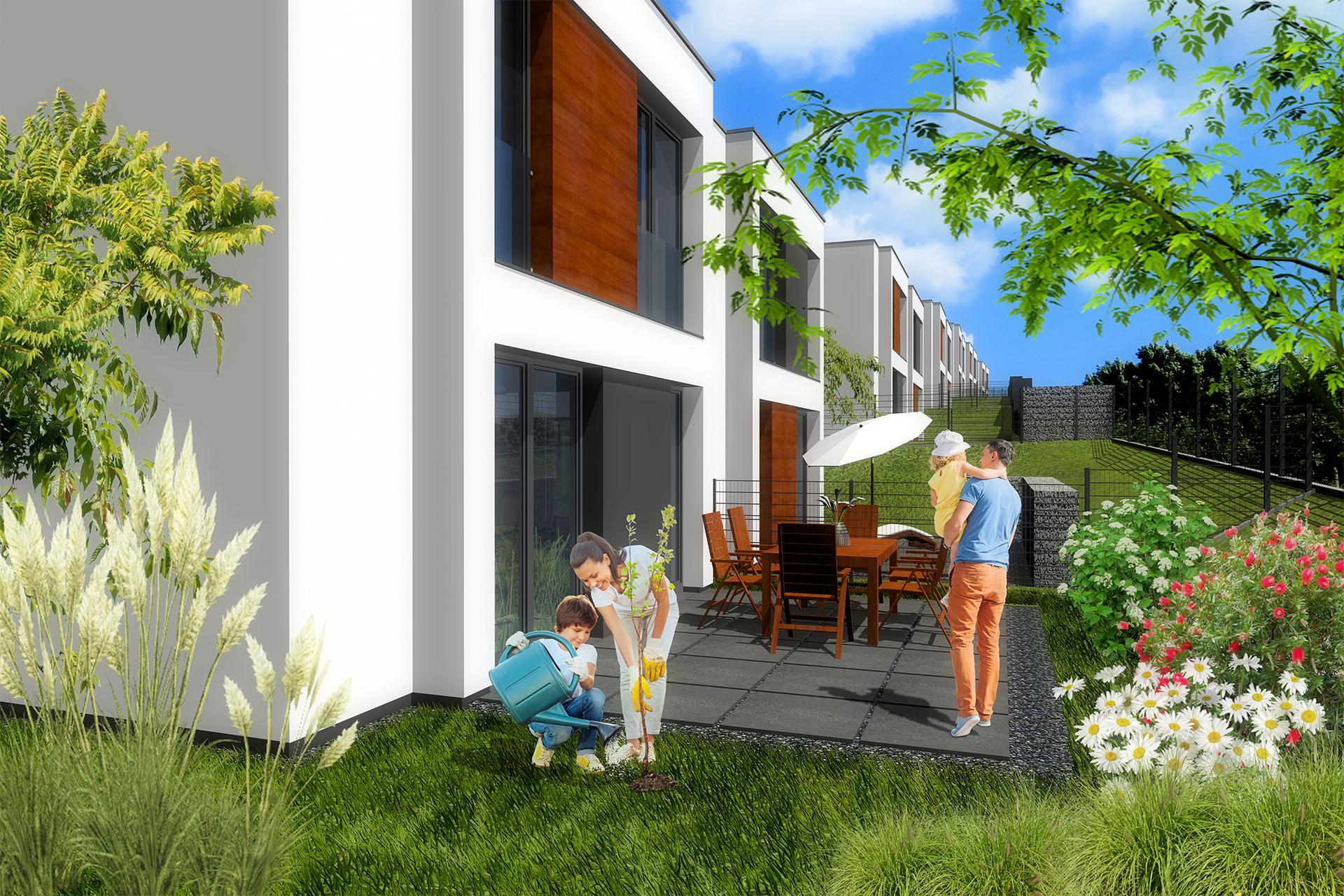 Dom bliźniak z ogrodem i tarasem