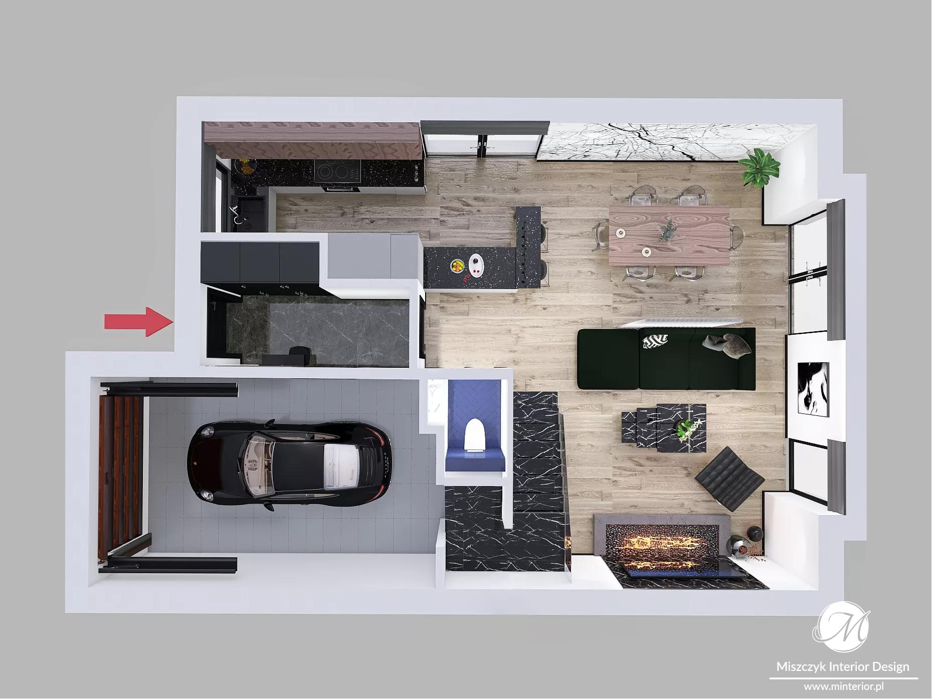 Projekt domu z garażem wersja A
